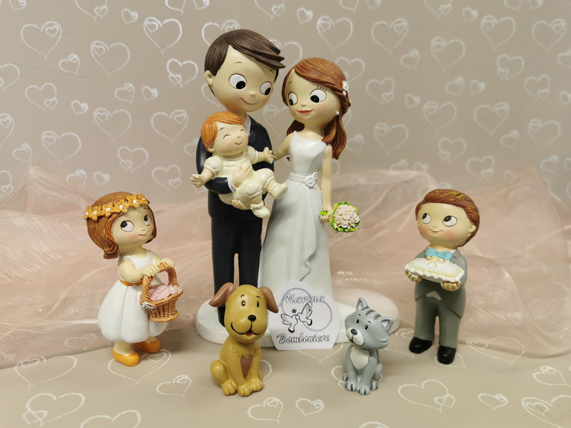 cake topper sposi con bambini e animali