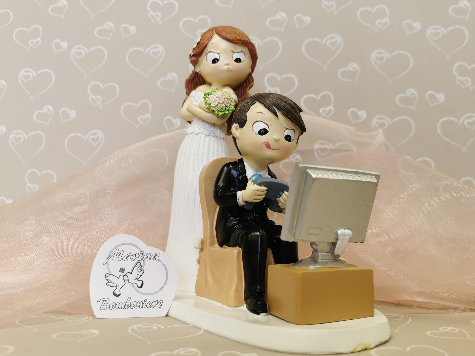 coppia sposi play station videogiochi cake topper