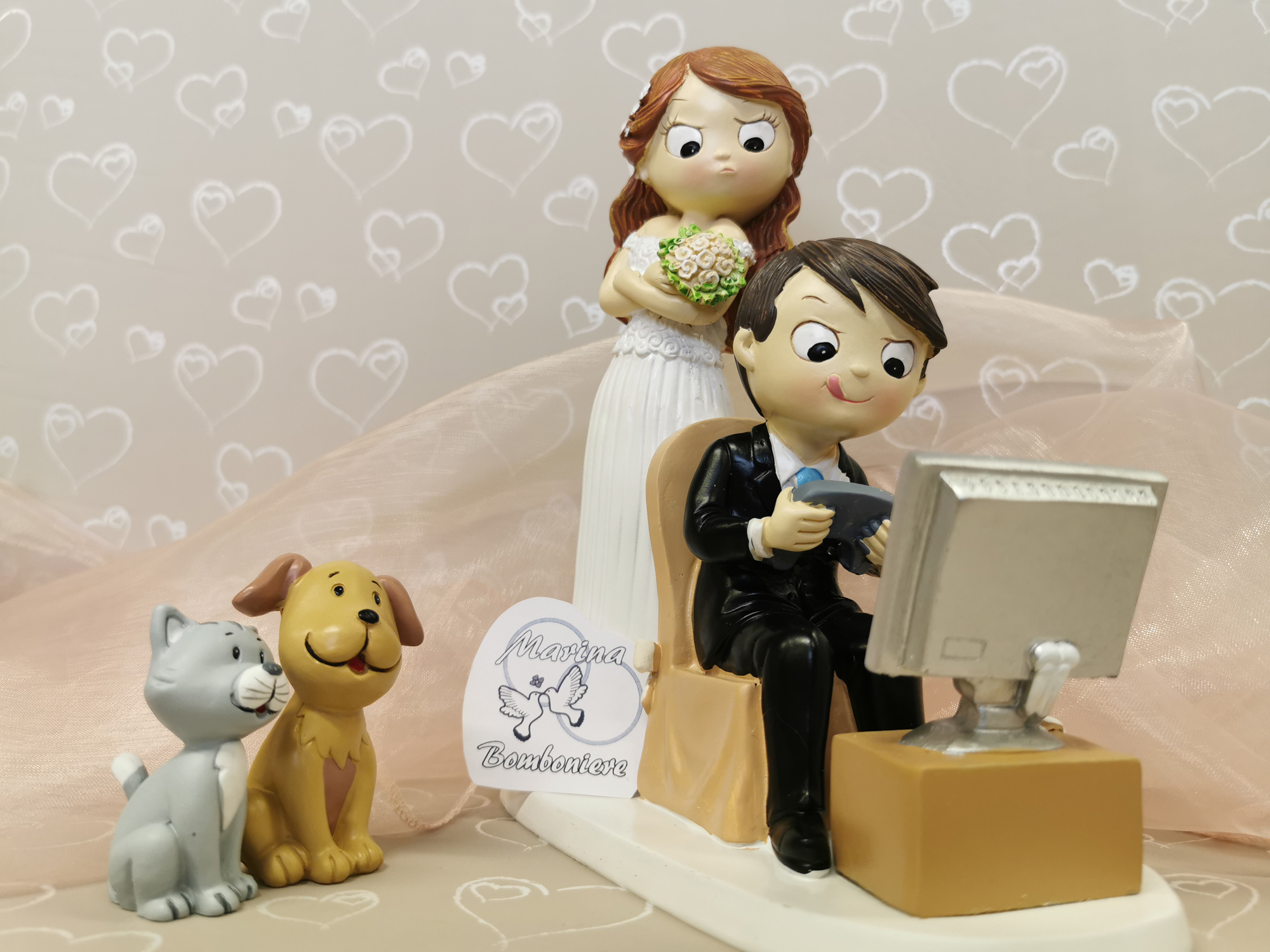 coppia sposi videogiochi cane e gatto