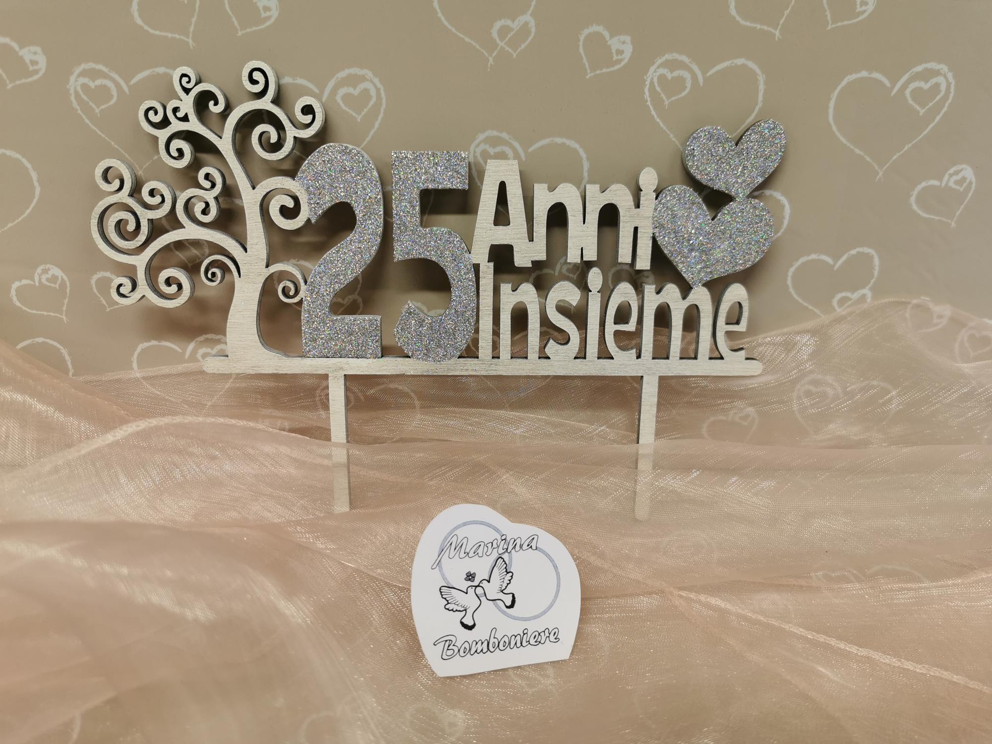cake topper 25° anniversario