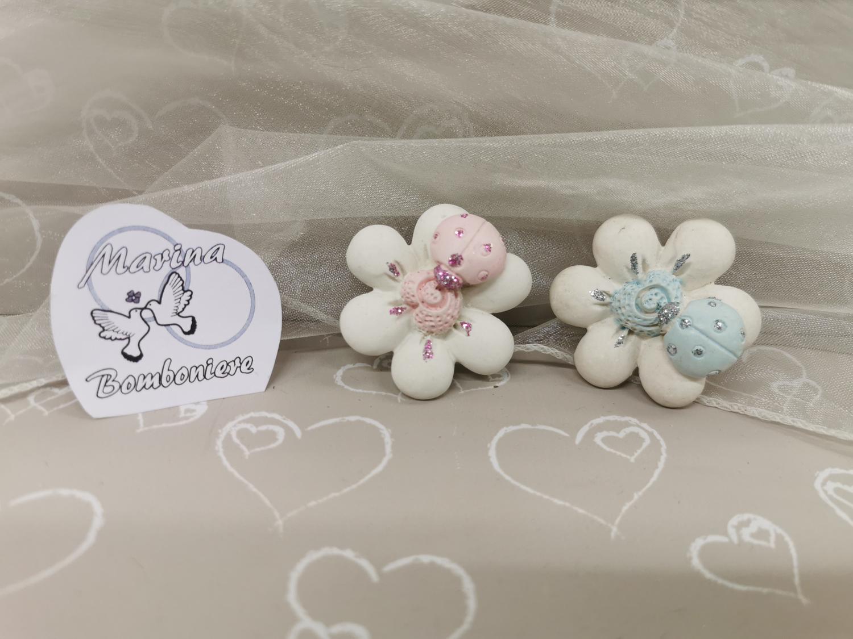 bomboniera battesimo fiore con coccinella
