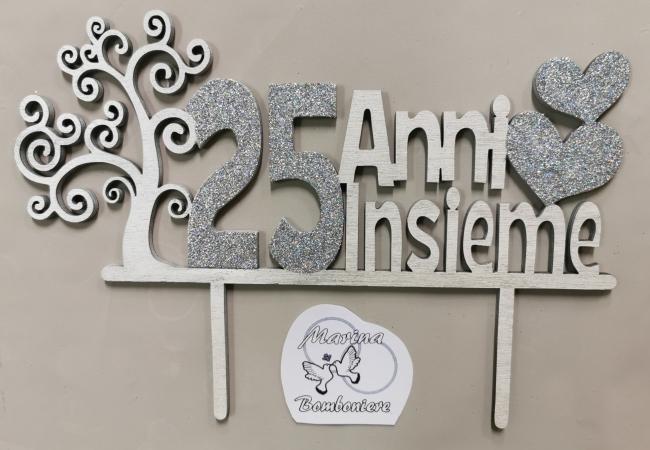 cake topper in legno 25 anni di matrimonio