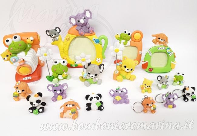 rana, panda, koala, elefante, cane, gatto
