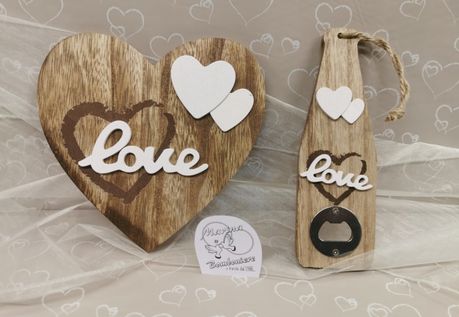 bomboniera in legno matrimonio apribottiglia sottopentola